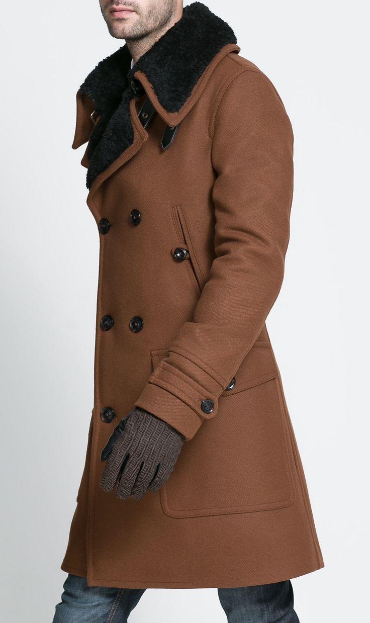 manteau hiver homme zara col en fourrure 3