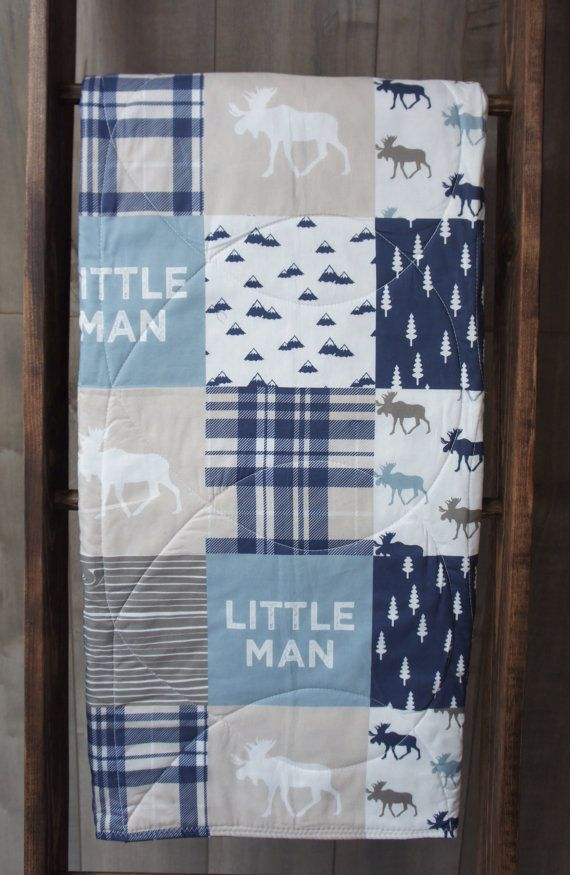 Baby Boy Quilt  Baby/Toddler Blanket  Woodland  Moose by Babylooms