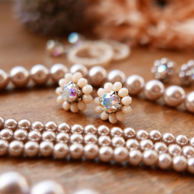 Rose Soleil Jewelry Antique Autumn Collection | ローズソレイユジュエリー ✧ グラスクリスタルピアス ✧ アンティークオータムコレクション