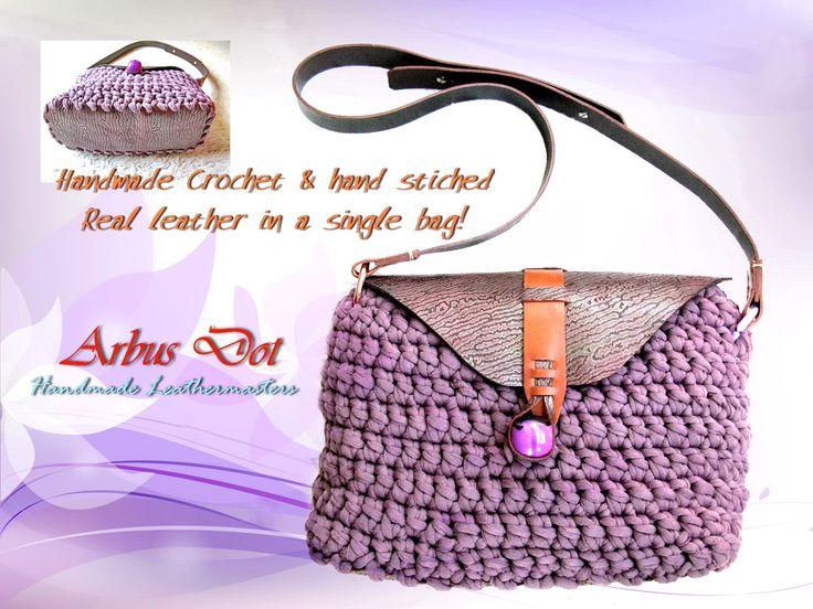 handmade leather-crochet bag in purple!!