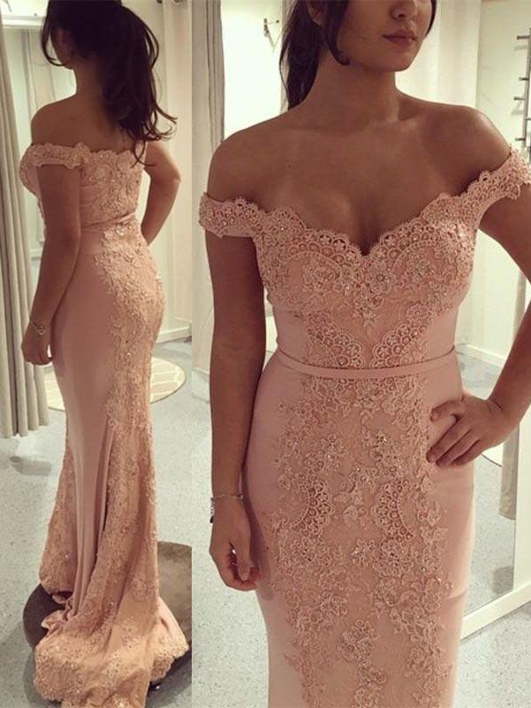 c1379cf401d89 Gorgeous Off the Shoulder Pink Mermaid Long Prom Dress | 2018 ...