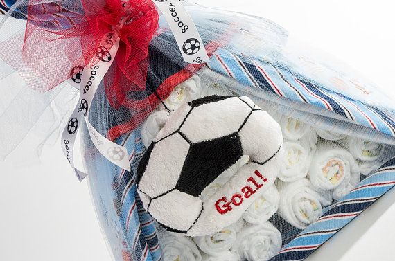 """The """"Soccer"""" Sport Diaper Bundle. Baby Shower Centerpiece or Gift. on Etsy, $45.00"""