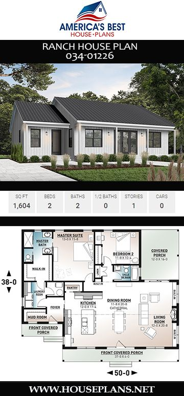 House Plan 034 01226 Ranch Plan 1 604 Square Feet 2 Bedrooms 2 Bathrooms Ranch House Plan Ranch House Plans Open Concept Layout