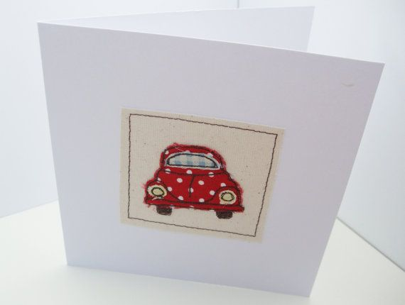 VW Beetle Bug Card  Machine Embroidered Car Card   by Nikelcards
