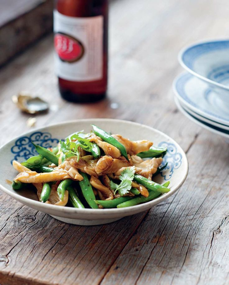 Green beans stir-fried with oyster mushrooms and garlic by Luke Nguyen from The Food of Vietnam