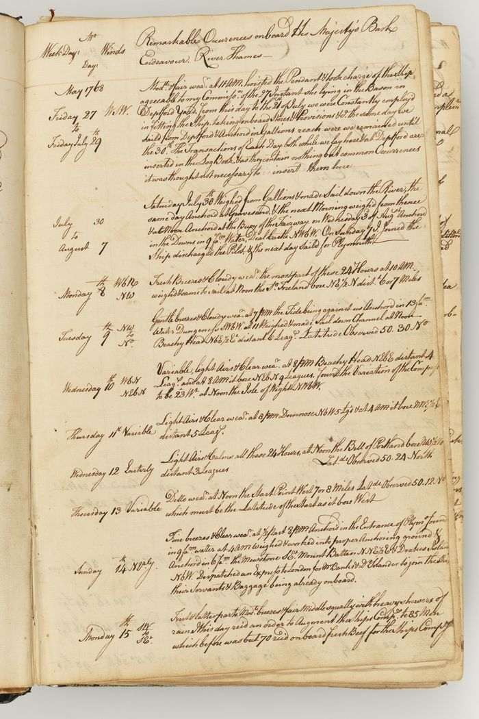 Read Captain James Cook's journal of the proceedings on His Majesty's Bark Endeavour from 27 May 1768 to 23 October 1770.