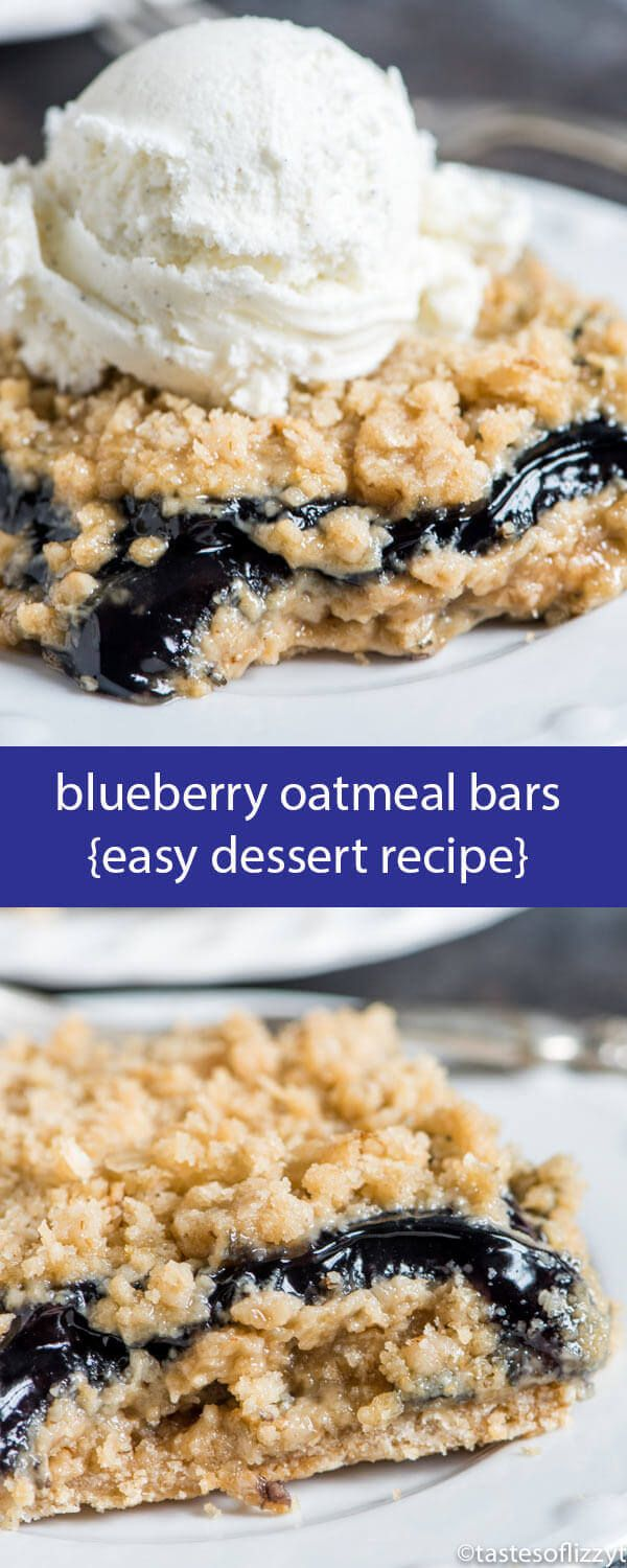 Only 6 ingredients and 10 minute prep time and these Blueberry Oatmeal Bars are ready for the oven. Similar to blueberry crisp so perfect with ice cream! Blueberry Oatmeal Bars {Easy Fruit-Filled Dessert Recipe}   via @tastesoflizzyt