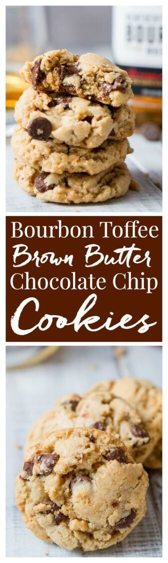 Bourbon Toffee Brown Butter Chocolate Chip Cookies are soft and chewy chocolate chip cookies laced with toffee, bourbon, and brown butter. via /sugarandsoulco/
