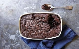 James Martin's baked double chocolate sauce pudding recipe - a great pudding to place in the centre of the table for everyone to help themselves