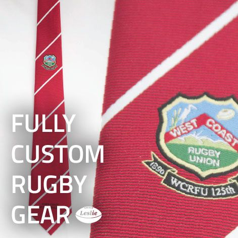 Custom rugby ties look awesome as a commemorative gift. Get your grassroots rugby team kitted out in fully custom rugby gear, printed with you logos and sponsors. Checkout www.LeslieRugby.co.nz for more.