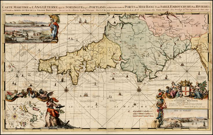 Map of the southwestern part of England, including Cornwall, Devon and part of Somerset, 1693