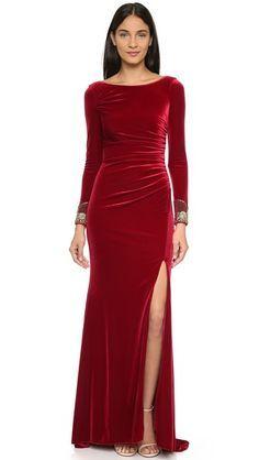 Badgley Mischka Collection Velvet Long Sleeve Dress