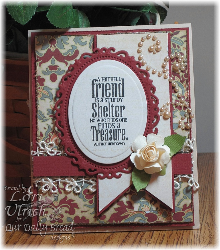 Created for the weekly Splitcoast sketch challenge using Kaisercraft papers (Velvet Ensemble) and Our Daily Bread Designs' Faithful Friend stamp set