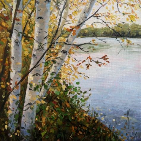 Autumn Birches by the River, 12x12 original oil painting by artist Takeyce Walter - $450