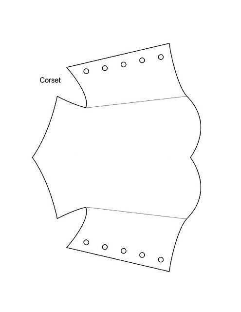Corset template for invitations to bridal shower.