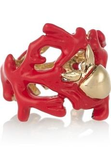 Aurélie Bidermann|Aphrodite enameled 18-karat gold ring|NET-A-PORTER.COM - StyleSays: Bidermann Gold, Enamels 18 Karate, Auréli Bidermann Aphrodite, Bidermann Aphrodite Enamels, Coral Rings, Gold Rings, Bidermann Rings, 18 Karate Gold, Coral Reefs