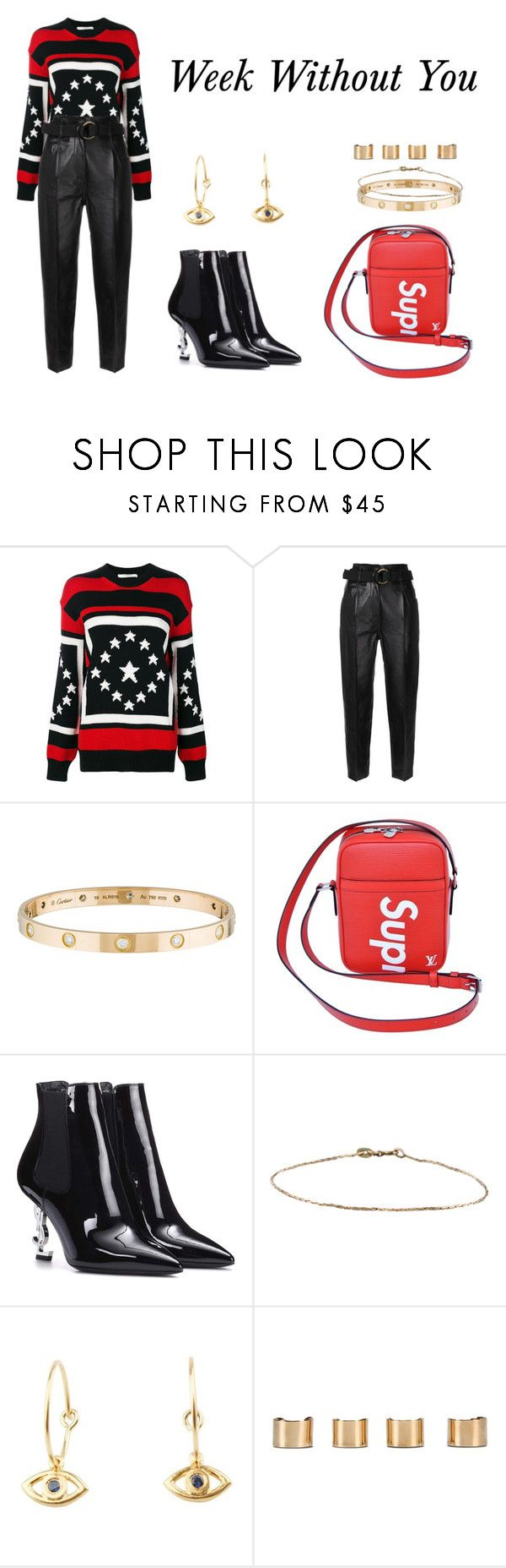 """Week Without You"" by anaelle2 ❤ liked on Polyvore featuring Givenchy, Petar Petrov, Cartier, Supreme, Yves Saint Laurent, Ileana Makri and Maison Margiela"