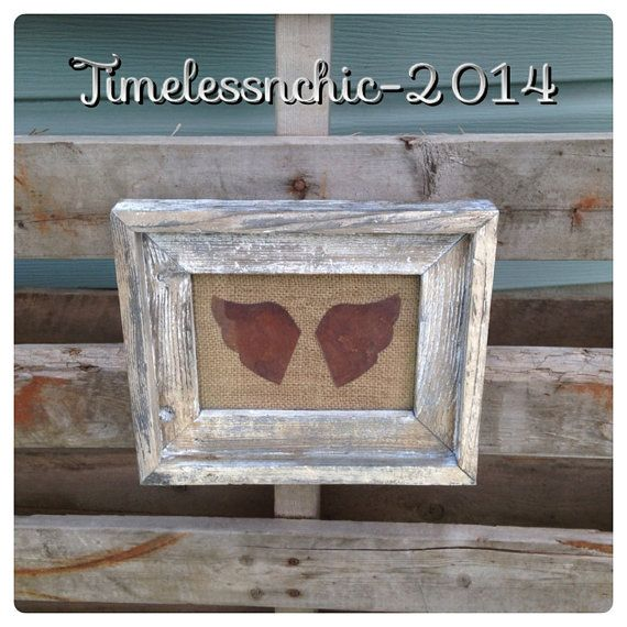 Rustic Home Decor  Shabby Chic Decor  Angel Wings by TimelessNchic, $24.95 #barnwood #primitive #shabby #chic #french #country #farmhouse #western #angelwing #rust #repurpose #reclaimedwood #pictureframe #nurseryart #angelart #etsy #timelessnchic #whitewashed #distressed #walldeor #homedecor