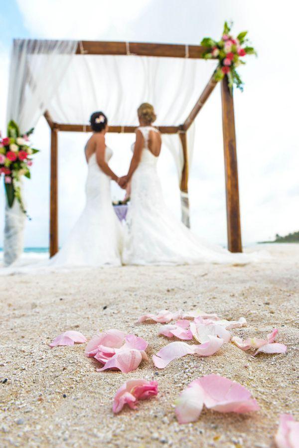 best beach wedding locations on budget%0A Two Brides Sunset Beach Destination Wedding   Mexico   Equally Wed  LGBTQ  Weddings