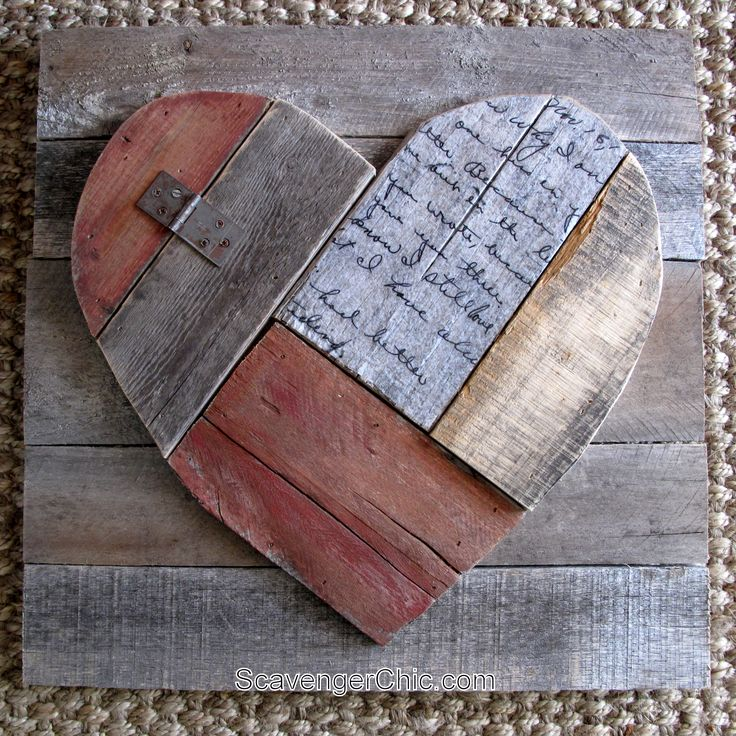 Rustic Pallet Wood Valentines Heart - Scavenger Chic