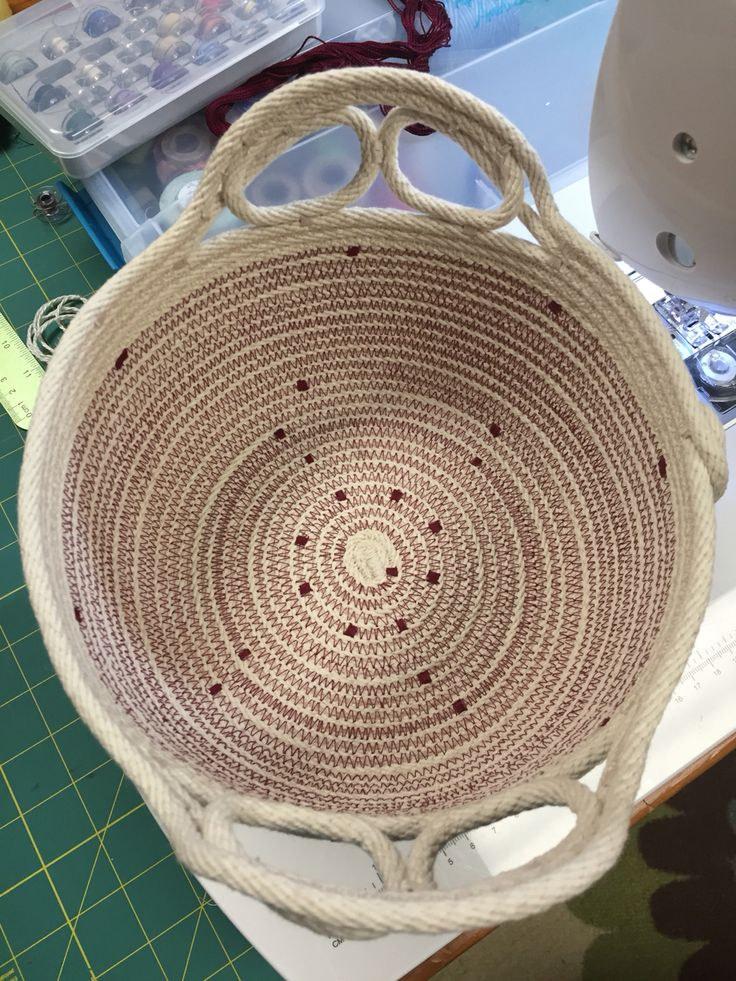 Coiled rope bowl, rope art by Andrea