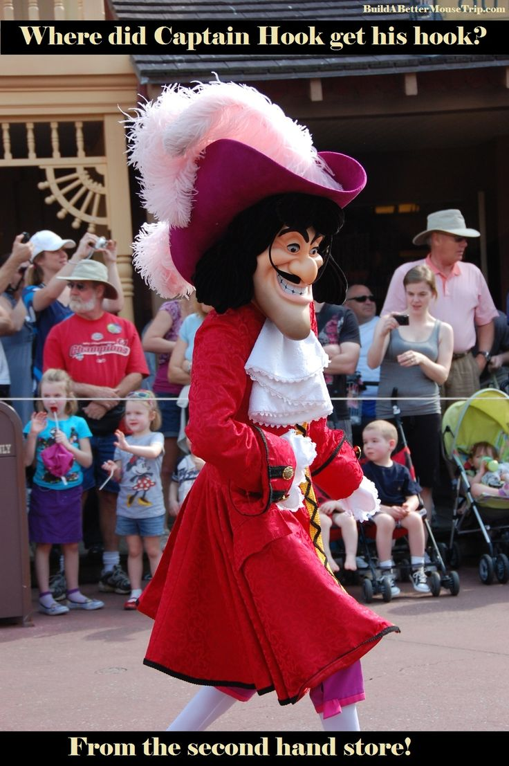 Silly Disney Joke - Where did Captain Hook get his hook? From the second hand store! (Photo: Afternoon parade at the Magic Kingdom in Disney World) To receive a list of 45 great #Disney World freebies see: http://www.buildabettermousetrip.com/15FreeThings.php #DisneyWorld