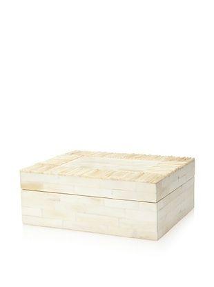 Purva Antiqued Matchstick Border Bone Jewelry Box