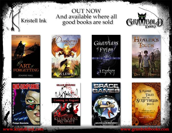 A list of the books in Kristell Ink publishing house. One of the books is mine, and I've made the covers for two others :)