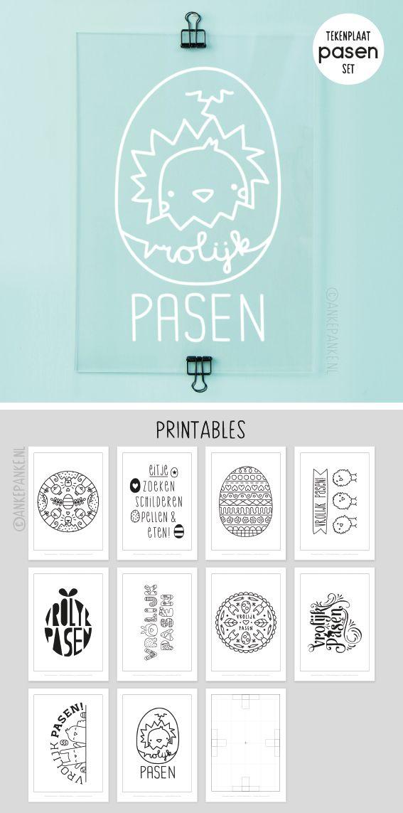 Pasen set met 10 printables die precies op de #tekenplaat (19 x 27 cm) passen.