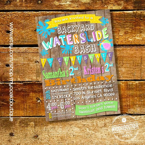 Splish Splash Party Invitation Waterslide Birthday Backyard Bash Summer Wood Invite Digital Printable 13539 By Myooakboutique On