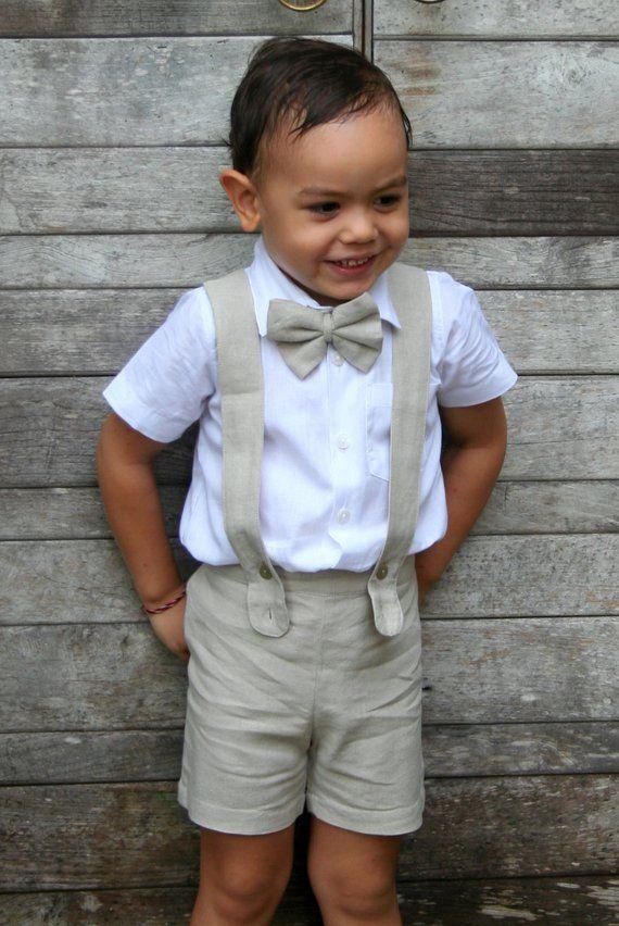 aae7e82b9f 4 pcs Boy Christening Outfit-beige,Suspender Shorts,Boy Suit linen,Page Boy,Ring  Bearer,Baptism boy,Shorts with Braces,Wedding attendant
