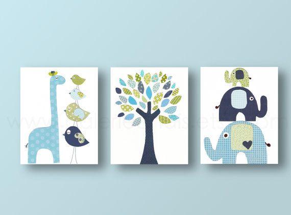 Boys Nursery art prints baby nursery decor nursery art Bird elephant tree giraffe blue green navy Set of 3 prints from Paris