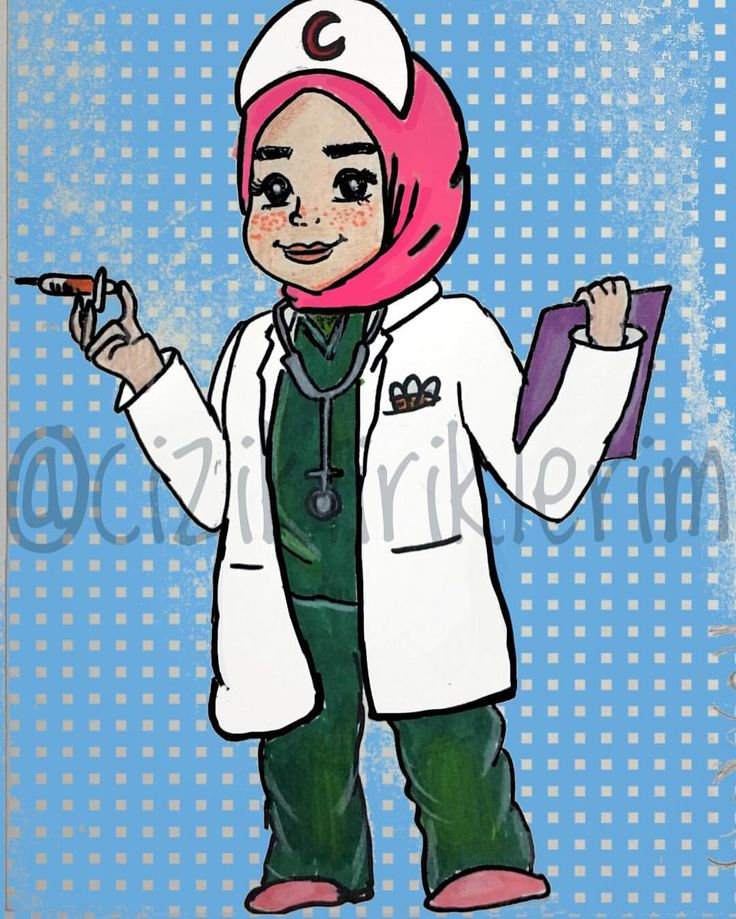 nurse doctor hijab drawing cartoon