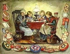 Tasha Tudor's book illustration of girls sewing.