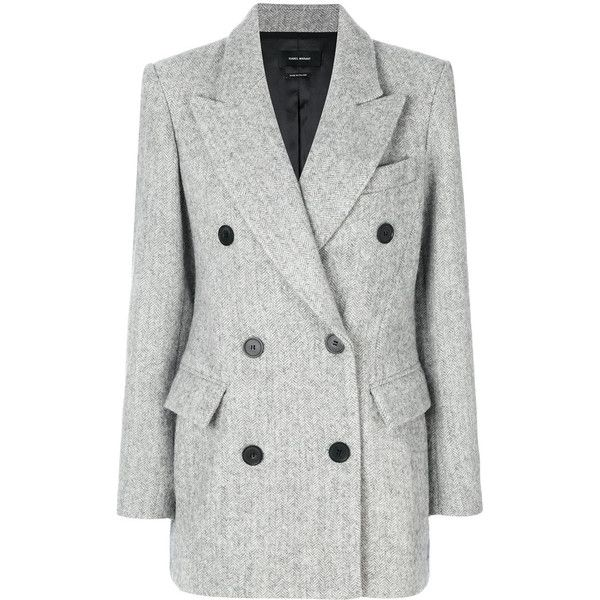 Isabel Marant Eley Coat ($1,101) ❤ liked on Polyvore featuring outerwear, coats, grey boyfriend coat, metallic coat, boyfriend coats, slouch coat and grey double breasted coat