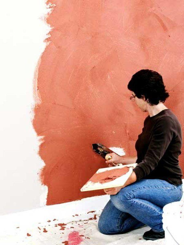 wände verputzen streichputz farbig