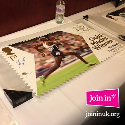 Mo Farah signed stamps - London 2012 Memorabilia Sale