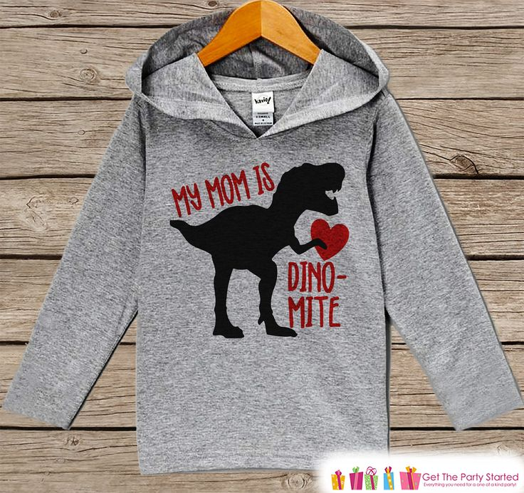 Funny Dinosaur Shirt - Mother's Day Dinosaur Outfit - Dino Mom Heart Hoodie - Grey Hoodie - Toddler, Infant - Kids Dinosaur Shirt