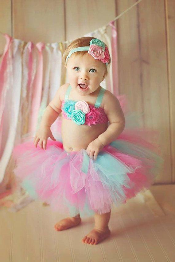 Pink, Hot Pink, Aqua Shabby Tutu, Top, & Headband- Birthday, 1st birthday, cake smash, Girl, Newborn, baby, flower, shirt