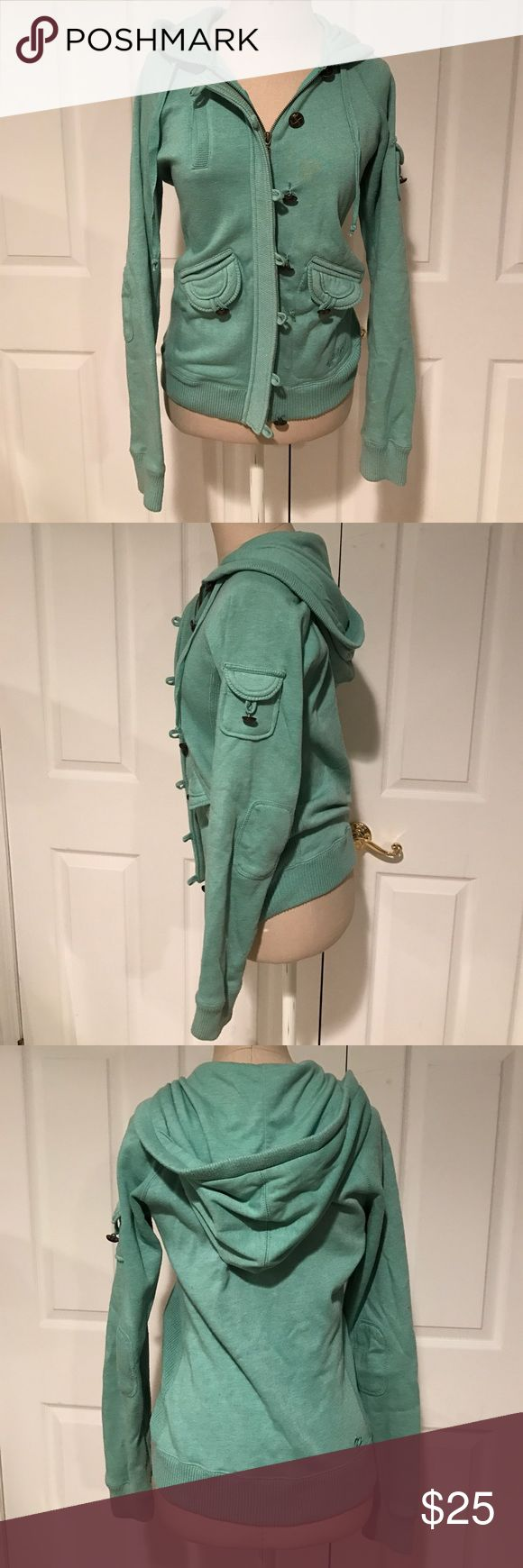 Green Billabong Zip-Up Hoodie Lightly used, mint green, zip-up hoodie with brown buttons (missing two buttons), two front pockets, pocket on left sleeve Billabong Jackets & Coats