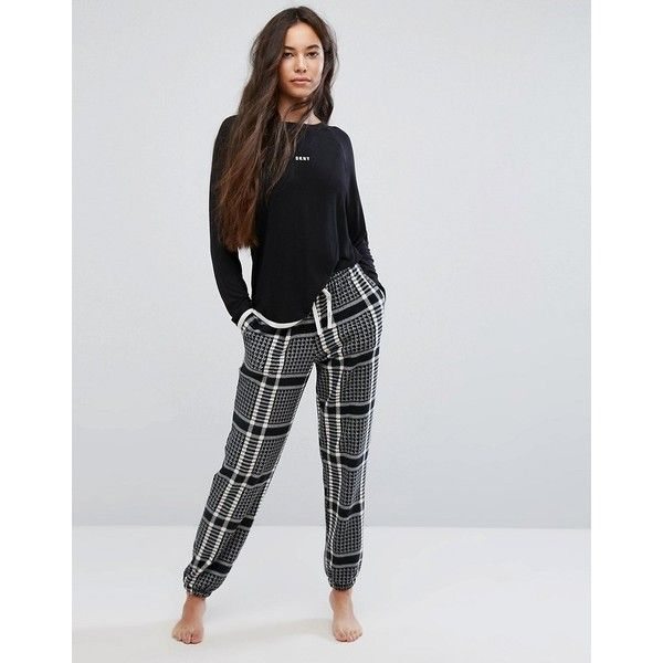DKNY Long Sleeve Pyjama Top and Jogger (129 AUD) ❤ liked on Polyvore featuring black, sport jerseys, dkny and sports jerseys