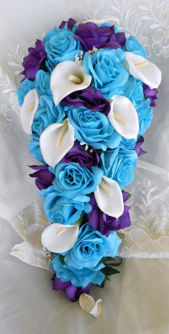 Turquoise blue and purple cascade wedding by VictoriaSilkDesigns