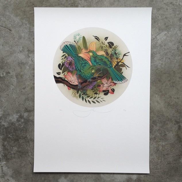 Round Huia Print by Flox - Prints Posters NZ Art Prints, Design Prints, Posters NZ Design Gifts | endemicworld