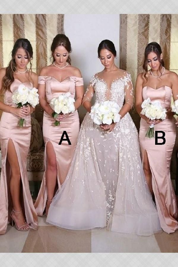 Feminine Blush Bridesmaid Dresses, Mermaid Bridesmaid Dresses