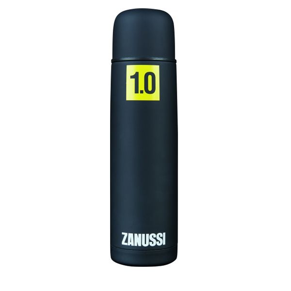 <b>Zanussi Black 1 Ltr Vacuum Flask- </b>Black, soft-touch coated stainless steel Vacuum Flask