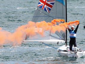 Ben Ainslie celebrates his victory at Weymouth