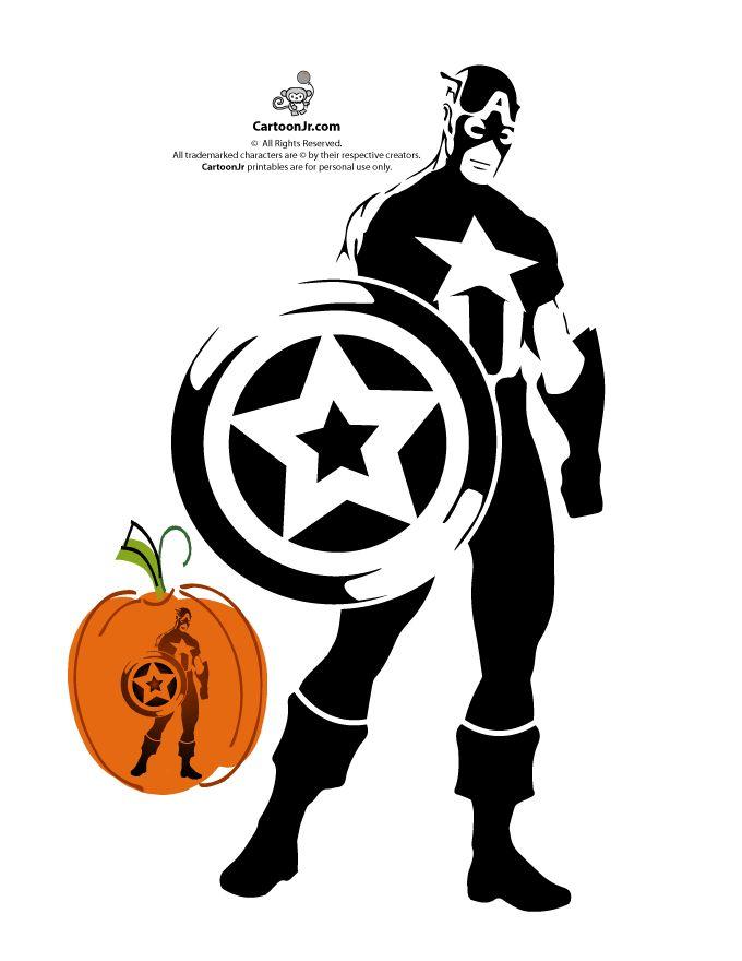 Marvel's Avengers Printable Pumpkin Stencils Captain America Avengers Pumpkin Stencil – Cartoon Jr.