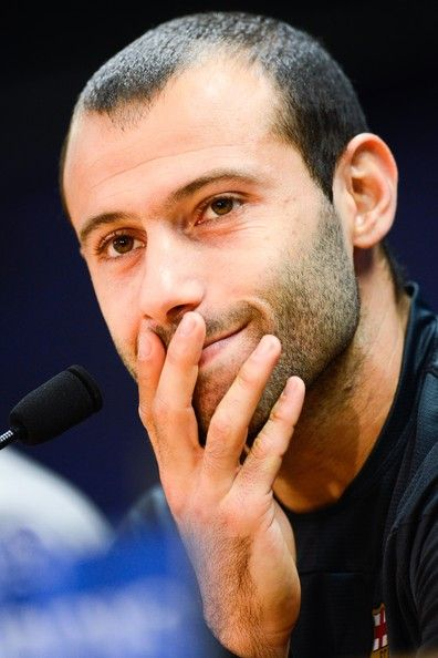 Javier Mascherano of FC Barcelona faces the media during a press conference ahead the UEFA Champions League quarter-final second Leg match against Manchester City at the Sant Joan Despi Sport Complex on March 11, 2014 in Barcelona, Catalonia.