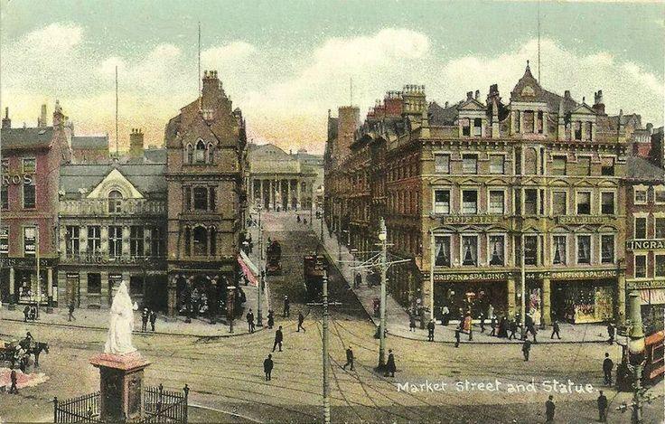 Market Street and the Queen Victoria Statue, Nottingham, c1910.