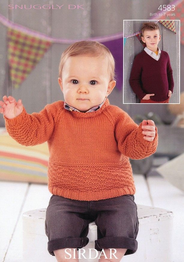 Boys Round Neck And V Neck Sweaters In Sirdar Snuggly Dk
